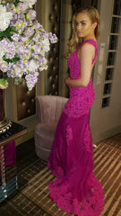 Amanda Magenta Laced Backless Formal Prom Dress