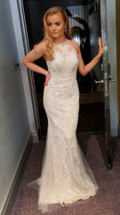 Clara Ivory Laced High Neck Formal Prom Dress