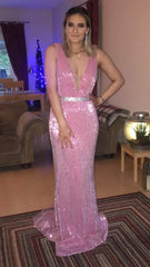 Suzanne Pink Sequin Formal Prom Dress
