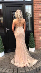 Iris Rose Gold Sequin Formal Prom Dress
