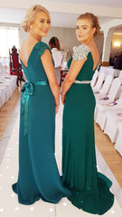 Caroline Green V Neck Laced Shoulder Cap Bridesmaids Dress