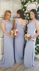 Aria Powder Blue Beaded Belt Plain & Elegant Bridesmaids Dress