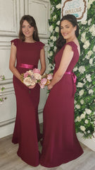 Lena Burgundy Laced Shoulder Cap Bridesmaids Dress