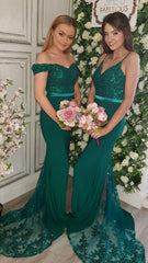 Scarlett Emerald Embellished Top Bridesmaids Dress