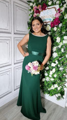 Sienna Forest Green Pearl Neck And Belt Plain & Elegant Bridesmaids Dress