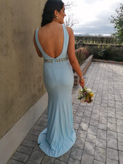 Leah Sky Blue Beaded Belt Backless Bridesmaids Dress