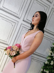Leah Lavender Pink Beaded Belt Backless Bridesmaids Dress