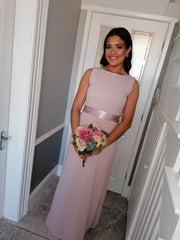 Sienna Lavender Pink Pearl Neck And Belt Plain & Elegant Bridesmaids Dress