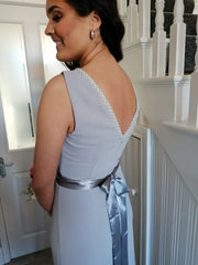Sienna Silver Dove Grey Pearl Neck And Belt Plain & Elegant Bridesmaids Dress