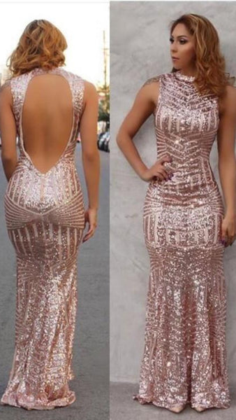 Tanya Rose Gold Sequin Backless Formal Prom Dress
