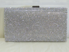 New York Silver Crystal Clutch Bag