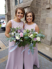 Sienna Blush Pearl Neck Plain & Elegant Bridesmaids Dress