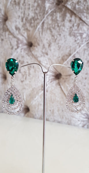 Shannon Green and Silver Crystal Earrings