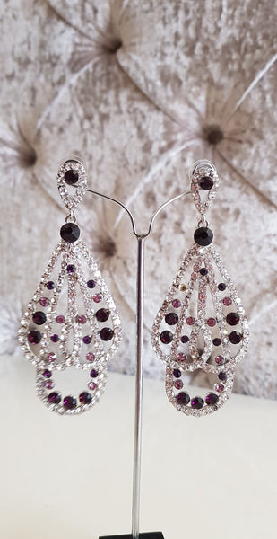 Holly Purple and Silver Crystal Earrings