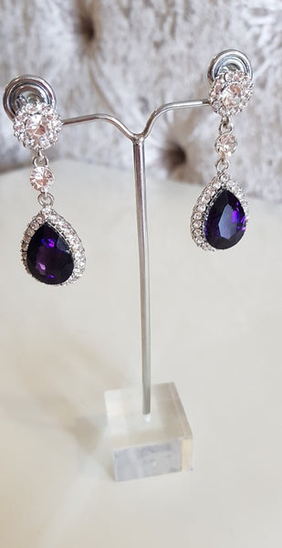 Sophia Purple and Silver Crystal Earrings
