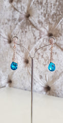 Megan Aqua Turquoise and Silver Crystal Earrings