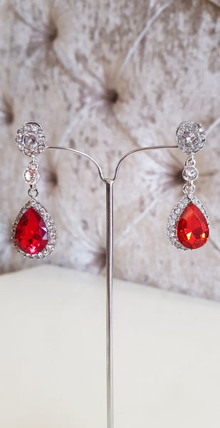 Imogen Red and Silver Crystal Earrings