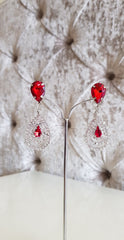 Leanne Red and Silver Crystal Earrings