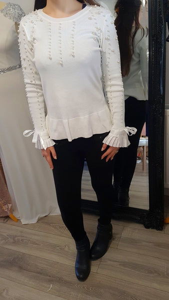 Ivory Pearl and Bow Sleeve Detailed Jumper