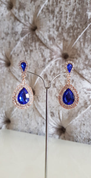 Kathryn Blue and Silver Crystal Earrings