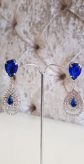 Leah Blue and Silver Crystal Earrings