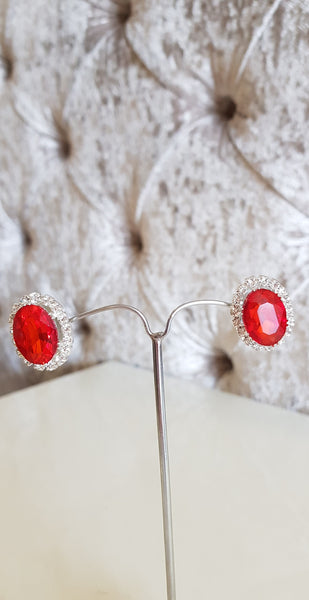 Anna Red and Silver Crystal Earrings