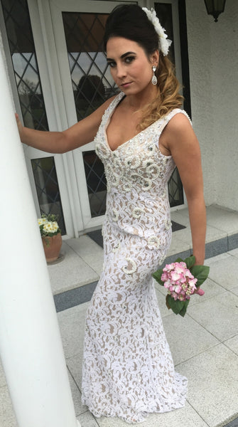 Charlene Lace and Pearl Ivory Formal Hire Dress
