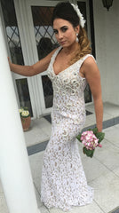 Charlene Lace and Pearl Formal / Bridesmaid Dress