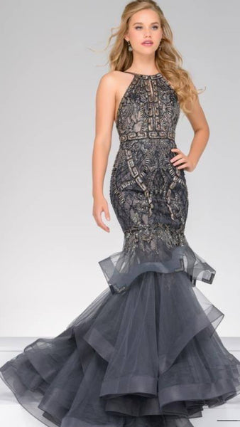 Willow Embellished Lace Fishtail Formal Prom Dress Gun Metal Grey and Gold