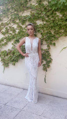 Isla Ivory & Champagne Lace & Crystal Formal Hire Dress