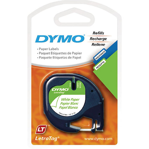 "DYMO LetraTag Label Tape, 12mm (1/2"") Black on White Paper"