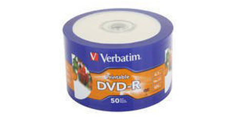 Verbatim DVD-R 16x 4.7GB White Inkjet Hub Printable 50 Disc Plastic Wrapped