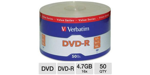 Verbatim DVD-R 16x 4.7GB 50PK Clear Wrap