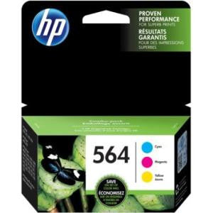 HP 564 Cyan, Magenta & Yellow Original Ink Cartridges, 3/Pack Combo (N9H57FN)
