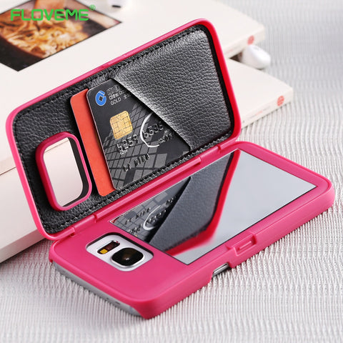 FLOVEME Mirror Case For Samsung Galaxy S8 Waterflow Grid Wallet +Card Slot Back Cover For Samsung S7 S8 Edge Plus Woman Bags