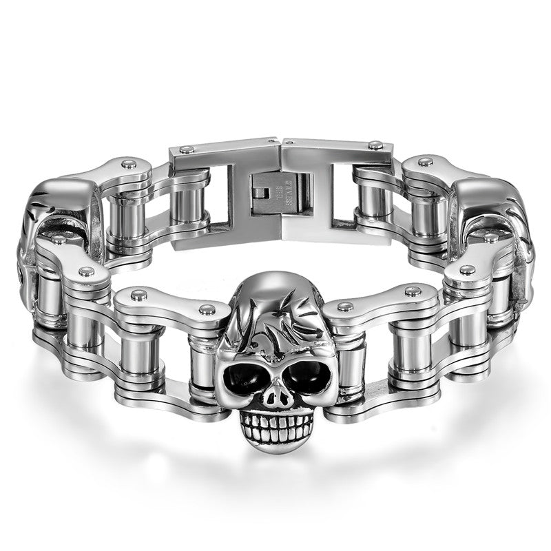 Stainless Steel Skull Motorcycle Chain Bracelet