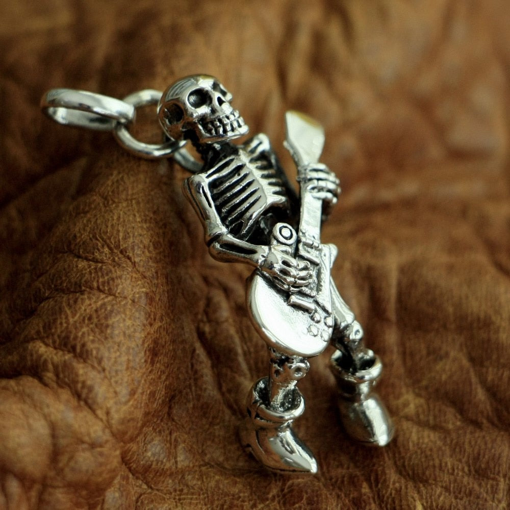 Sterling Silver Skeleton Rocker Pendant