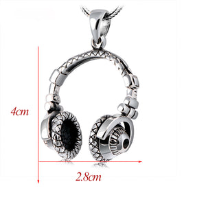 925 Sterling Silver Headset Pendant (Leather Rope included)