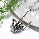 "Rock N Roll Skeleton Claw Pendant With 22"" Chain"