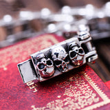 Solid 925 Sterling Silver Skull Locomotive Bracelet