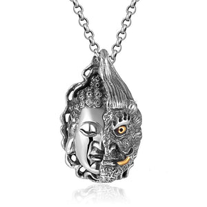 925 Sterling Silver Buddha and Devil Pendant