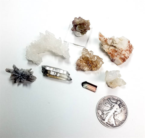 PARCEL 27 MIXED SMALL UNIQUE CRYSTAL LOT