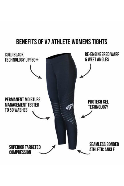 V7 & V8 Womens Black Athlete Tights - Body Science New Zealand