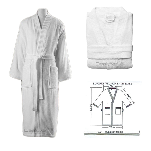 100% Cotton Velour Terry Towelling Bathrobe Bath Robe Kimono Style – Dealuxe 4b82d1c76