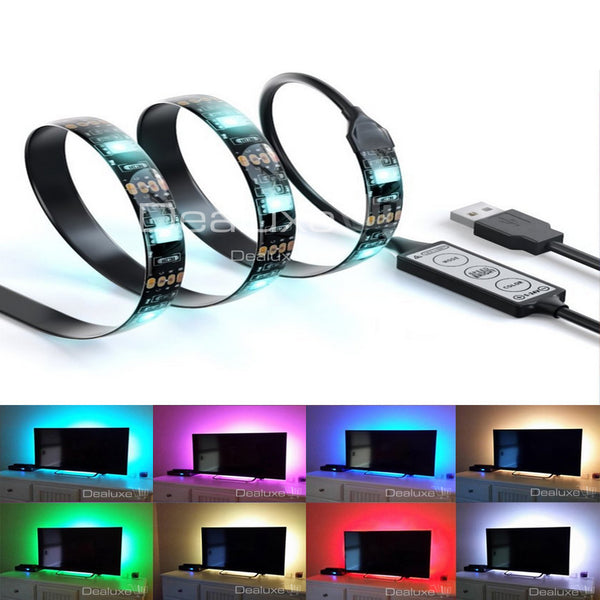 USB LED Light Strip RGB Colour Changing Background Mood Lighting - TV PC  Laptop