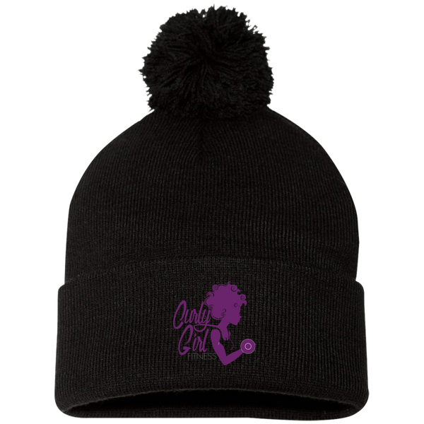 Curly Girl Fitness  Pom Pom Knit Cap