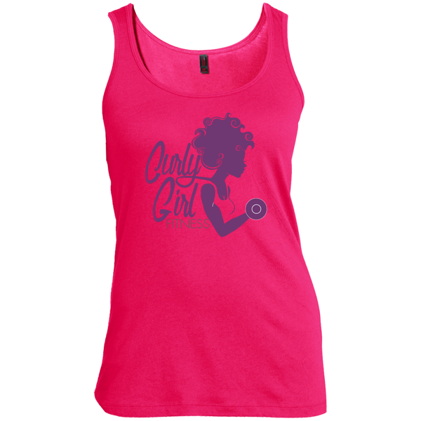 Curly Girl Fitness Logo Scoop Neck Tank Top