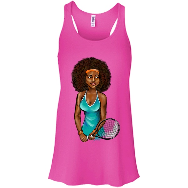 Curly Girl Tennis Flowy Racerback Tank