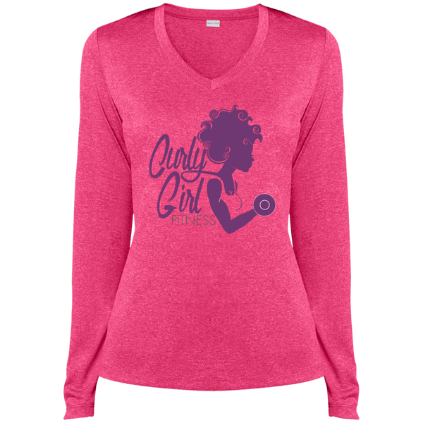 Curly Girl Fitness Logo Dri-Fit V-Neck Tee
