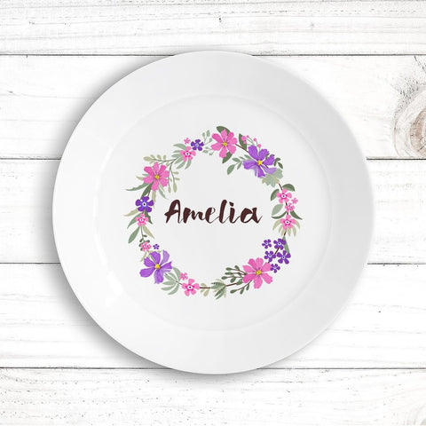 Flower Wreath Kids Plate